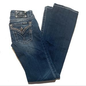 Miss Me Signature Rise Boot Cut Bedazzled Jeans